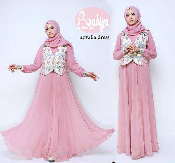 Busana Muslim Terbaru Novalia Dress by Rabiya Pink