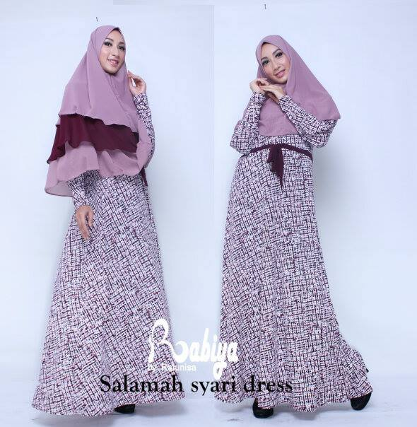 Busana Muslim Terbaru Salmah Syar'i Dress by Rabiya Purple