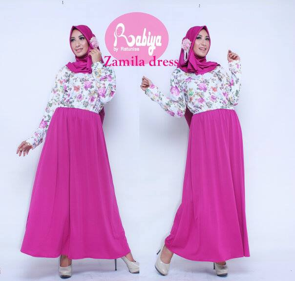 Busana Muslim Terbaru Zamila Dress by Rabiya Pink