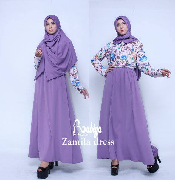 Busana Muslim Terbaru Zamila Dress by Rabiya Purple