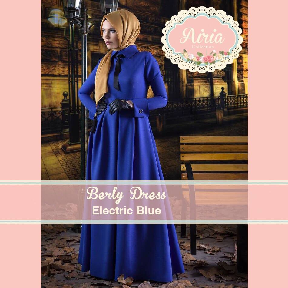 Busana Muslim Pesta Modern Terbaru Berly Dress Electrik Blue