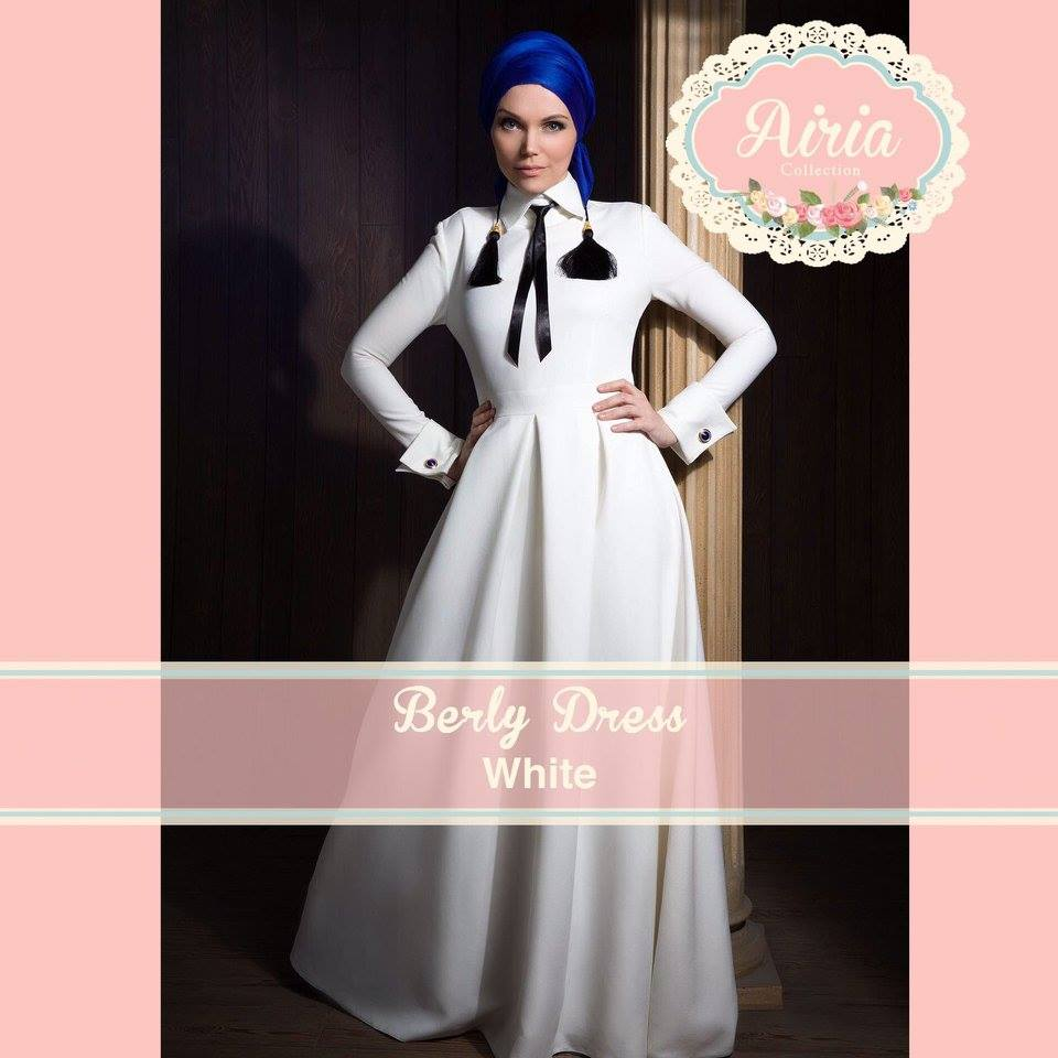 Busana Muslim Pesta Modern Terbaru Berly Dress White