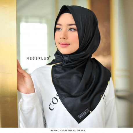 Jilbab Zipper Black