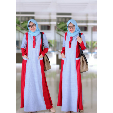 Savana Dress White Red