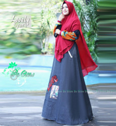 Lovely Set Syari Maroon